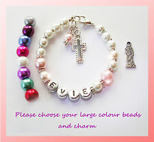 GIRLS BABY CHRISTENING PERSONALISED BEADED BRACELET GIFT CHOICE OF CHARMS