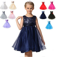 Princess Girl Kids Tutu Dress Sequins Party Wedding Bridesmaid Flower Tulle Gown