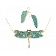 Gold Filled Turquoise Small Dragonfly Earrings Birthday Necklace Set Jewelry