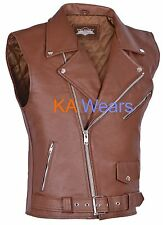 Mens Real Leather Waistcoat Biker Vest Motorcycle Brando Brown Zip Pocket Style