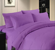 1000 TC Hotel Purple Solid & Striped 100% Egyptian Cotton All UK Bedding Set's