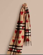 *NEW* Authentic 100% Burberry Classic Cashmere Scarf &Hearts - Parade Red/Black