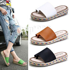 Womens Slip On Espadrille Low Wedge Flip Flop Beach Thong Sandals Slides Mules