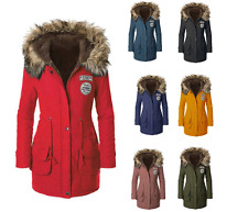 Parka Coat Down Cotton Women Jacket Outwear Warm Winter Fur Trench Hooded Long M