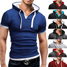 Casual Style Fashion Short Sleeve Mens Hoodie T-shirt Slim Fit POLO Shirt Top 42