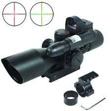 Tactical2.5-10X40  Rifle Scope with Green Laser-Mini Reflex 3 MOA Red Dot Sight