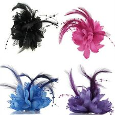 New Lady Wedding Bridal Flower Brooch Hair Pins Feather Hair Clips Accessory 1Pc