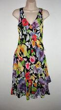 NWT MSRP $155  LAUREN RALPH LAUREN Women's Floral Ruffle Dress, Black Multicolor