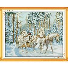 Cart Go Through Snow Counted 11CT 14CT DMC Cross Stitch DIY Kits Embroidery