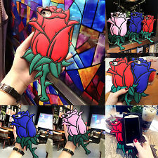 3D Cute Cartoon Rose Flower Soft Silicone Rubber Case Cover skin For iPhone 7 6s