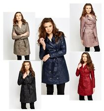 WOMENS LADIES BELTED LONG QUILTED PARKA JACKET TRENCH MACS COAT SIZE UK 8 , 10