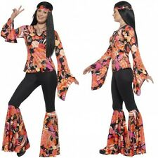 LADIES WILLOW HIPPIE 1960'S FANCY DRESS UP COSTUME 60S HIPPY OUFIT SIZE UK4 - 26