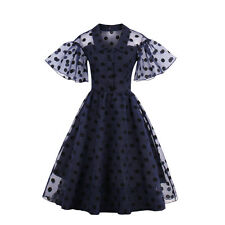 Vintage Women Dress Polka Dot Lace Cocktail Girl Party Occident Navy Sexy Gift
