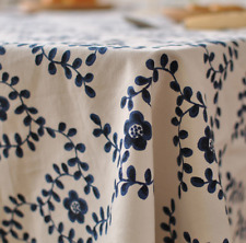 Blue Leaves Home  Coffee Table Cotton Linen Cloth Cover oAUr