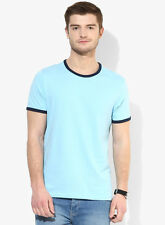 Burton Light Blue Solid Round Neck T-Shirt