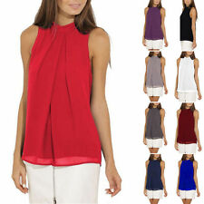 Womens Casual Sleeveless Chiffon Vest ladys T Shirt Blouse Loose TopS plus size