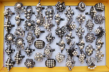 Lots Resin Pearl CZ Rhinestone Black Rings Wholesale Fashion Jewelry Ring Lot