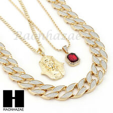 "ICED OUT RUBY KING TUT PENDANT 24"" 30"" CUBAN LINK ROPE CUBAN NECKLACE SET D023"