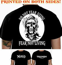 FEAR - NORTON TRIUMPH BIKER T-SHIRT MOTORCYCLE CLOTHING SKULL T SHIRT 102