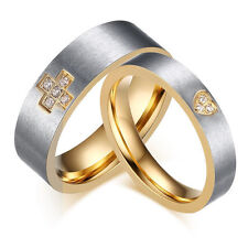 Fashion Stainless Steel Lover Couple Band Ring Engagement Wedding Promise Band