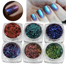 6/12Color Nail Glitter Mirror Chrome Effect Dust Magic Shimmer Color Changing JS