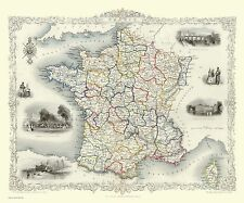 100, 500, 1000 Piece Jigsaw Puzzle Map of France 1851 by John Tallis