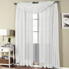 Abri White Rod Pocket Crushed Sheer Curtain Panel - ALL SIZES