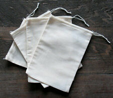 Cotton Muslin Bags with White Hem and White Drawstrings - 5 Sizes of bags