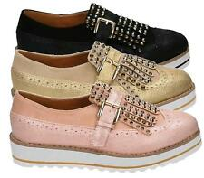 WOMENS CHUNKY WEDGE BROGUE SHIMMER STUDS BUCKLE FLATFORM SLIP ON CREEPERS SHOES