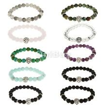 Fashion Natural Gemstone Beaded Bracelet Silver Lion Head Stretch Bangle