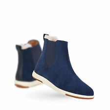 EMU Australia Womens Winter Snow Boots Chelsea Cow Suede Boots in Ink Blue