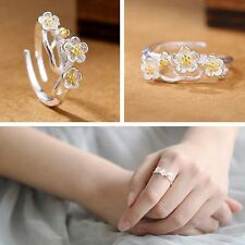 Jewelry Cherry Blossom Flower Shaped 925 Sterling Silver Adjustable Rings