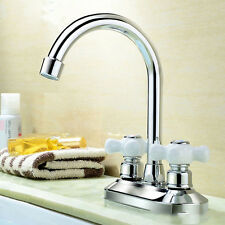 Chrome Hot/Cold Two Hole Double Handles Mixer Sink Water Tap Basin Bath Wash Tap