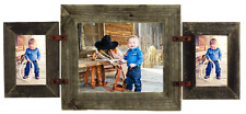 """Barn Wood Mixed Collage Rustic Picture Frame w Horizontal 8"""" x 10""""  2- 5 """"x 7"""""""