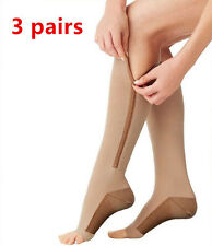 3pairs Copper Compression Support Zipper Socks Graduated Stockings Men's Women's