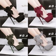 Ultra-High Heel  Platform Ankle Strap Bowknot Pointed Toe Stiletto Women Shoes