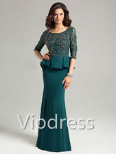 Half Sleeve Mother Of The Bride Dresses Lace Appliques Beads Party Dress Suits