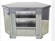 Widescreen Corner TV Cabinet Venetian Mirrored Glass Floating Crystal Unit Stand