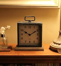 NEW RETRO METAL CLOCK MANTLE CLOCK ON WOODEN BASE - FREE DELIVERY