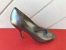 BCBGeneration Ariel pewter leather open toe high heel pump