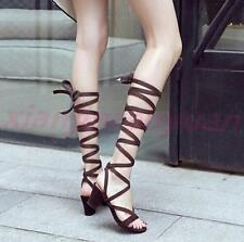 Fashion Womens Hollow Out Block Heel Boots Summer Knee High Sandal Strappy Shoes