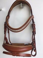 Brown Leather Hanoverian Bridle Tan Horse Bridle Crystal Browband Web Reins -