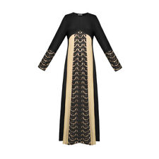 Women Lace Panel Contrast Color Long Sleeves Maxi Dress