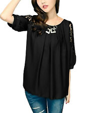 Women Casual Round Neck Pleated Front Single Button Closure Back Loose Top