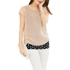 Women Short Sleeve Round Neck Dots Prints Layered Casual Blouse