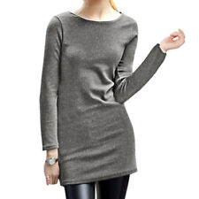 Women Round Neck Long Sleeves Slim Fit Casual Tunic T-Shirt