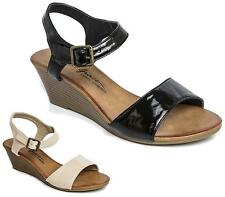 WOMENS FAUX PATENT LEATHER SLINGBACK ANKLE BUCKLE PARTY SANDALS SHOES SIZE 3-8