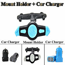 Car Seat Headrest Mount Holder Stand + Dual USB Car Charger for iPad 2 3 Samsung
