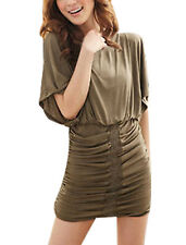 Women Scoop Neck Batwing Sleeves Ruched Mini Dress