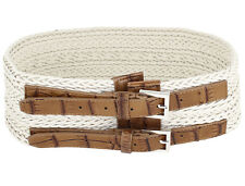 Ladies Double Single Pin Buckle Adjustable Band Braided Waistband Belt